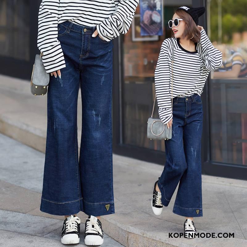 Jeans Dames Mode Losse Slim Fit Elegante Comfortabele Jeugd Effen Kleur Blauw