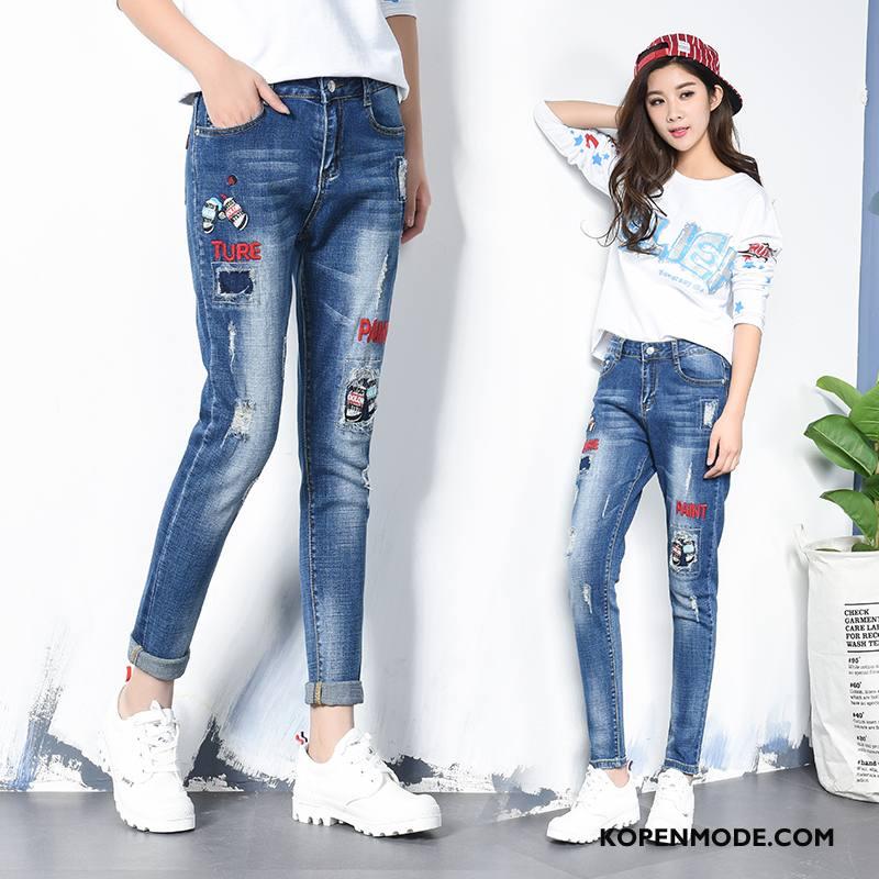 Jeans Dames Mode Slim Fit Dunne Eenvoudige 2018 Trend Blauw