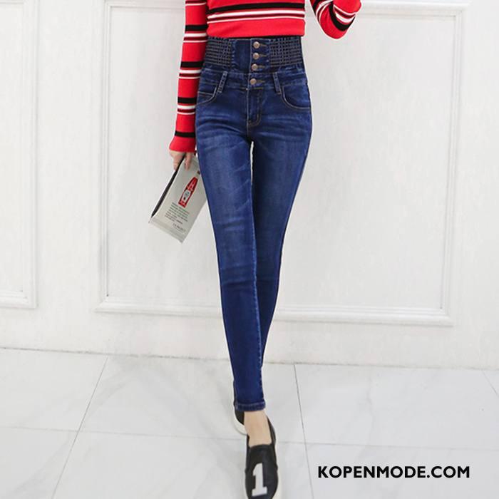 Jeans Dames Mode Voorjaar Potlood Broek Knopen Mid Taille 2018 Blauw