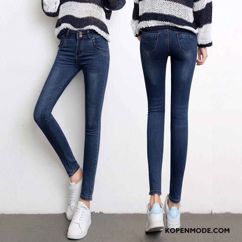 Jeans Dames Potlood Broek 2018 Elegante Hoge Taille Spijkerbroek Jeans Winter Effen Kleur Blauw