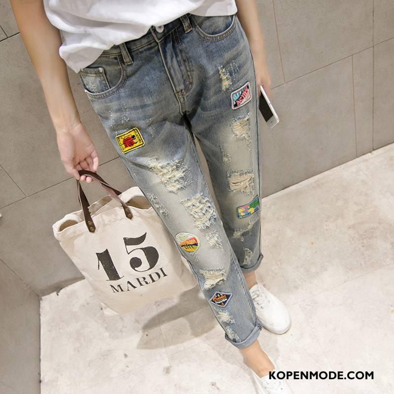 Jeans Dames Slim Fit Hoge Taille Trend 2018 Elegante Mode Effen Kleur Blauw