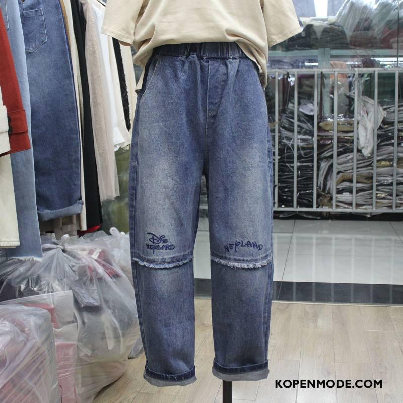 Jeans Dames Slim Fit Spijkerbroek Jeans Populair Elegante Comfortabele Voorjaar Effen Kleur Blauw