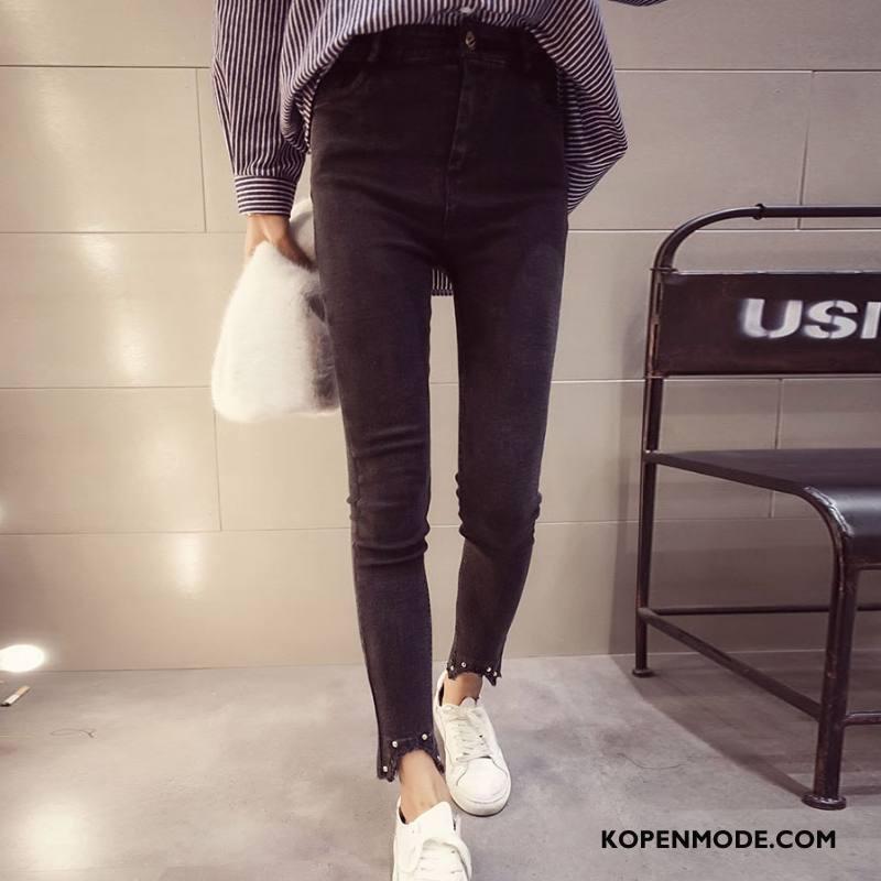 Jeans Dames Slim Fit Spijkerbroek Jeans Trend Zoet Voorjaar Dunne Effen Kleur Zwart Grijs