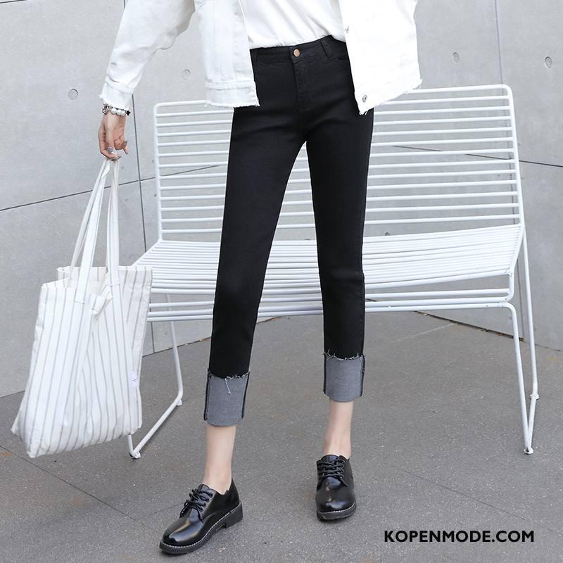 Jeans Dames Slim Fit Voorjaar 2018 Zoet Dunne Eenvoudige Effen Kleur Zwart