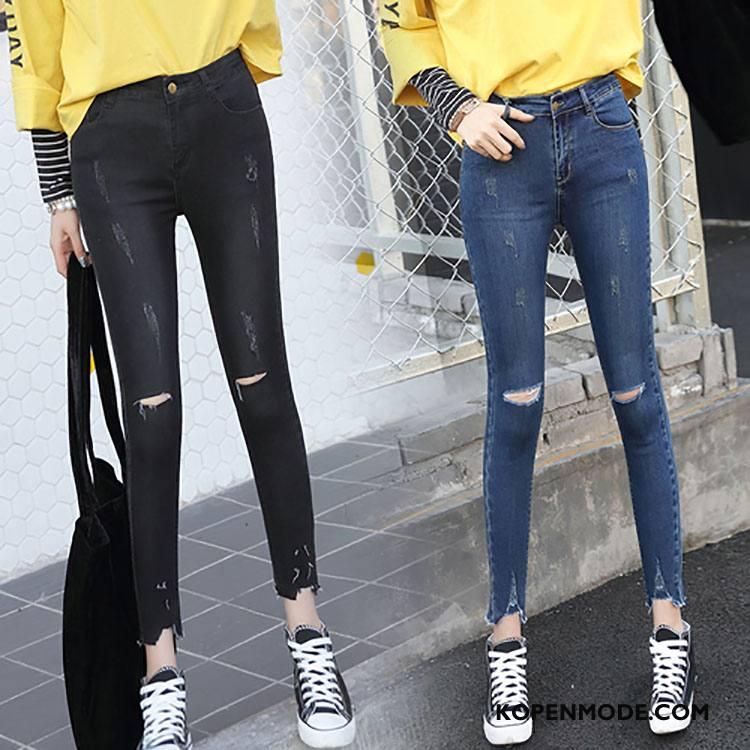 Jeans Dames Spijkerbroek Jeans 2018 Voorjaar Mode Trend Slim Fit Effen Kleur Zwart