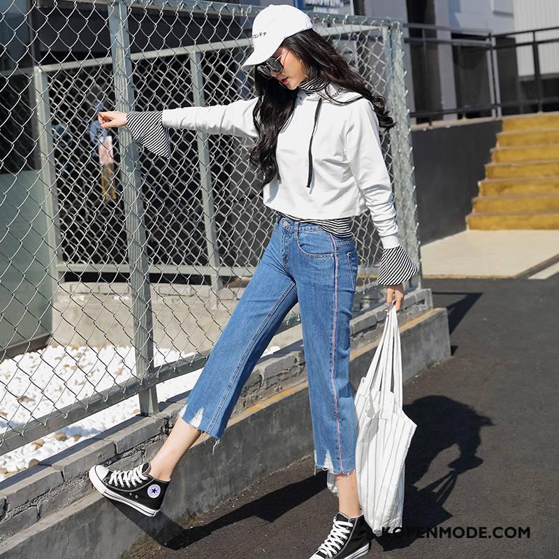 Jeans Dames Spijkerbroek Jeans Eenvoudige Voorjaar Elegante 2018 Dunne Effen Kleur Blauw