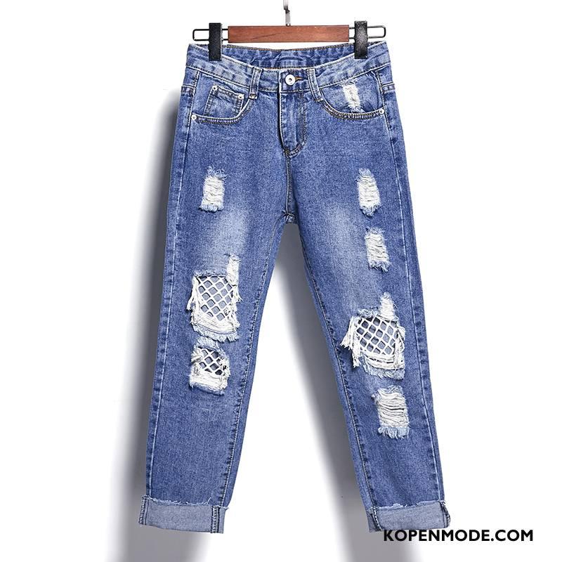 Jeans Dames Spijkerbroek Jeans Elegante Gescheurd 2018 Zomer Hoge Taille Blauw