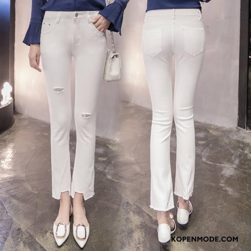 Jeans Dames Spijkerbroek Jeans Elegante Voorjaar 2018 Mode Eenvoudige Wit