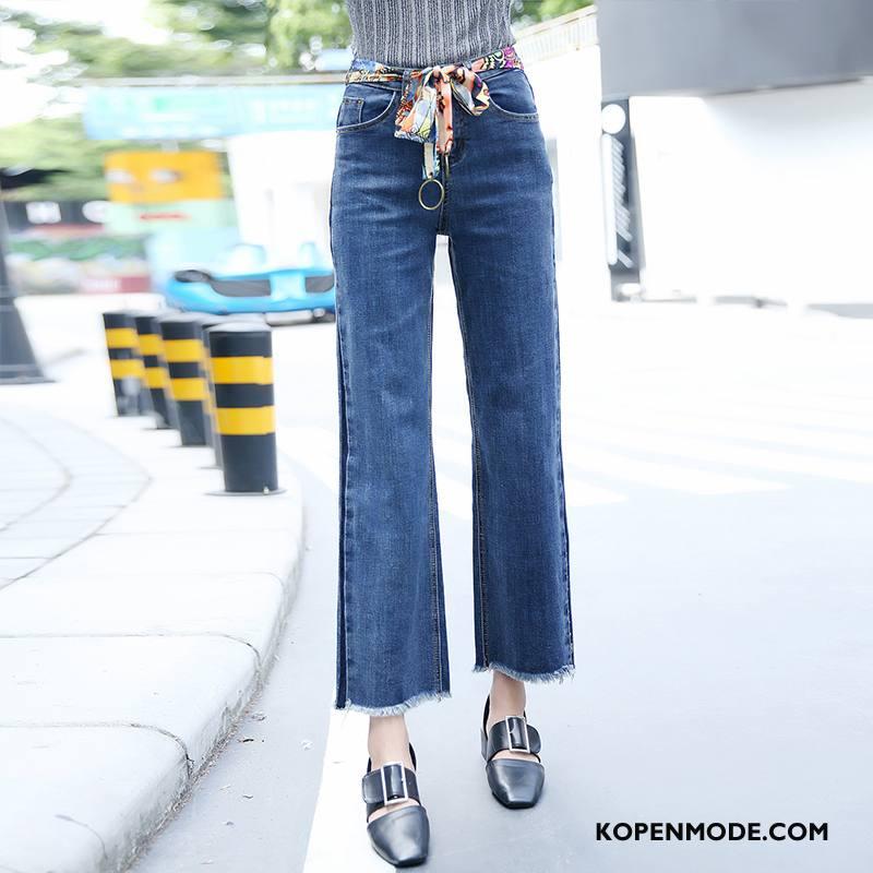 Jeans Dames Trend Hoge Taille 2018 Straat Losse Spijkerbroek Jeans Effen Kleur Blauw