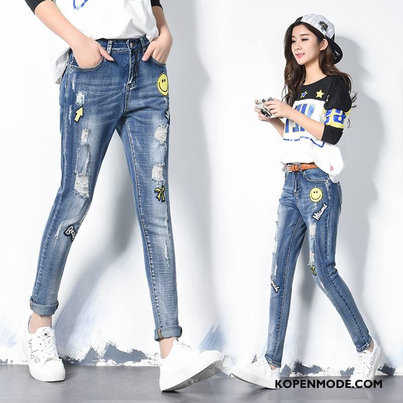 Jeans Dames Trend Mode Eenvoudige Dunne Slim Fit Elegante Blauw
