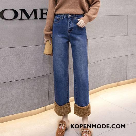 Jeans Dames Trend Rechtdoor Losse Comfortabele Mid Taille Eenvoudige Effen Kleur Blauw
