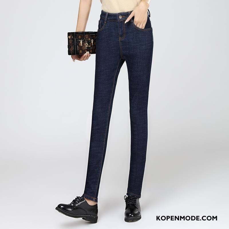 Jeans Dames Winter Elegante Hoge Taille Trend Spijkerbroek Jeans Casual Blauw
