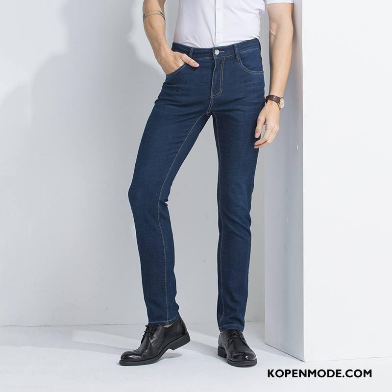 Jeans Heren Dun Bedrijf Mannen Spijkerbroek Jeans Kwaliteit Rechtdoor Blauw