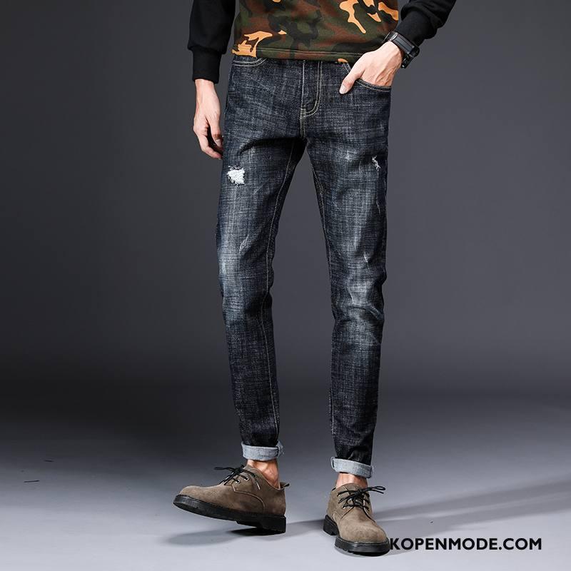 Jeans Heren Elastiek Broek Spijkerbroek Jeans Slim Fit Mannen Nieuw Zwart