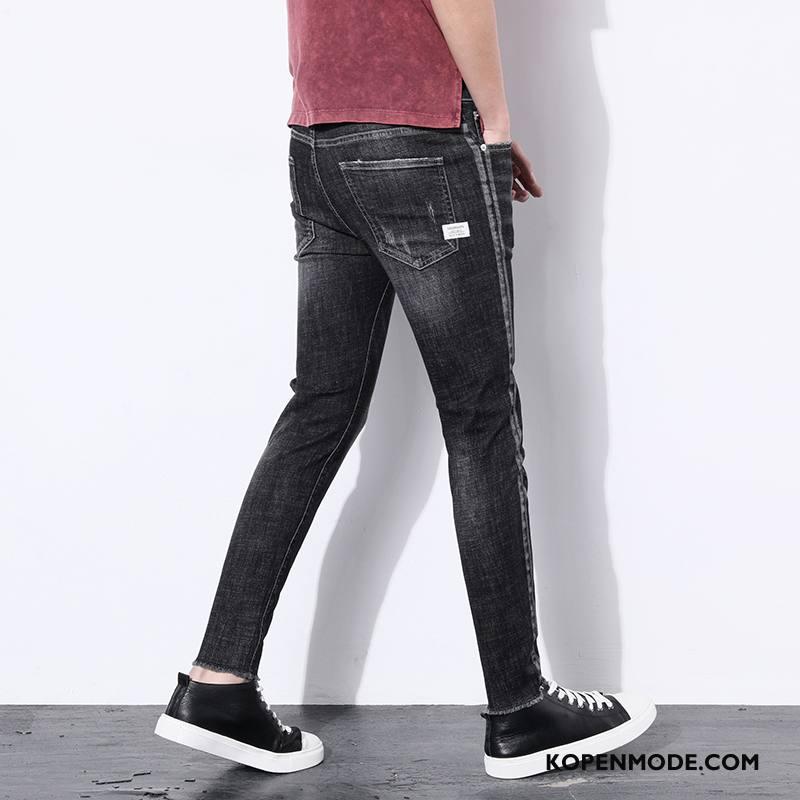 Jeans Heren Elastiek Gaten Potlood Broek Mannen Slim Fit Nieuw Zwart