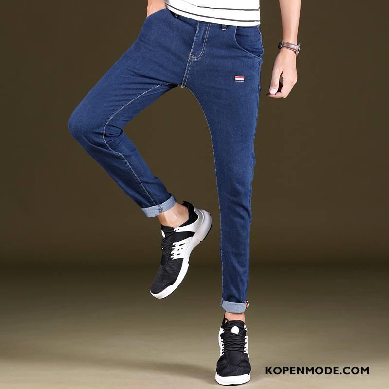 Jeans Heren Elastiek Jeugd Potlood Broek Mode Populair Blauw