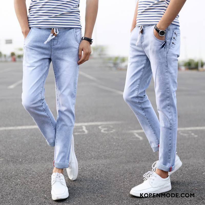 Jeans Heren Elastiek Mini Brits Spijkerbroek Jeans Mannen Jeugd Lichtblauw