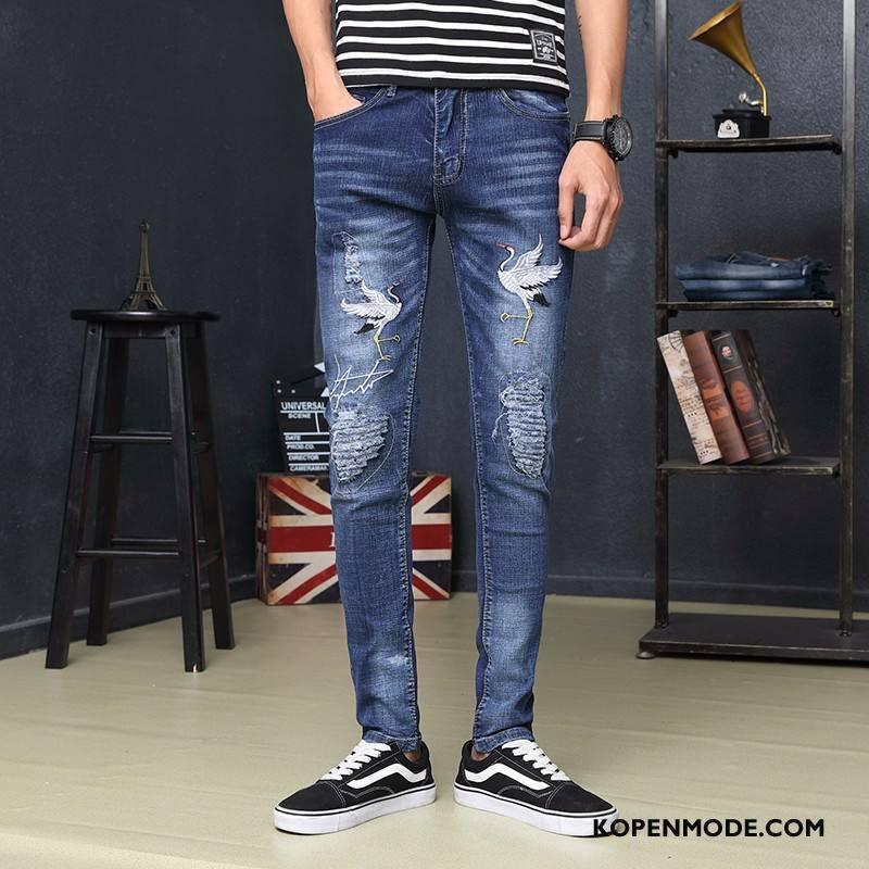 Jeans Heren Gaten Bedrukken Mannen Slim Fit Potlood Broek Spijkerbroek Jeans Marineblauw Beige
