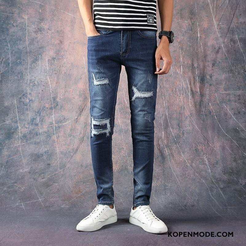 Jeans Heren Gaten Elastiek Mannen Slim Fit Zomer Spijkerbroek Jeans Marineblauw Beige