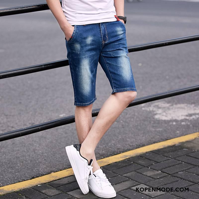 Jeans Heren Korte Broek Dunne Elastiek Trend Denim Mannen Blauw