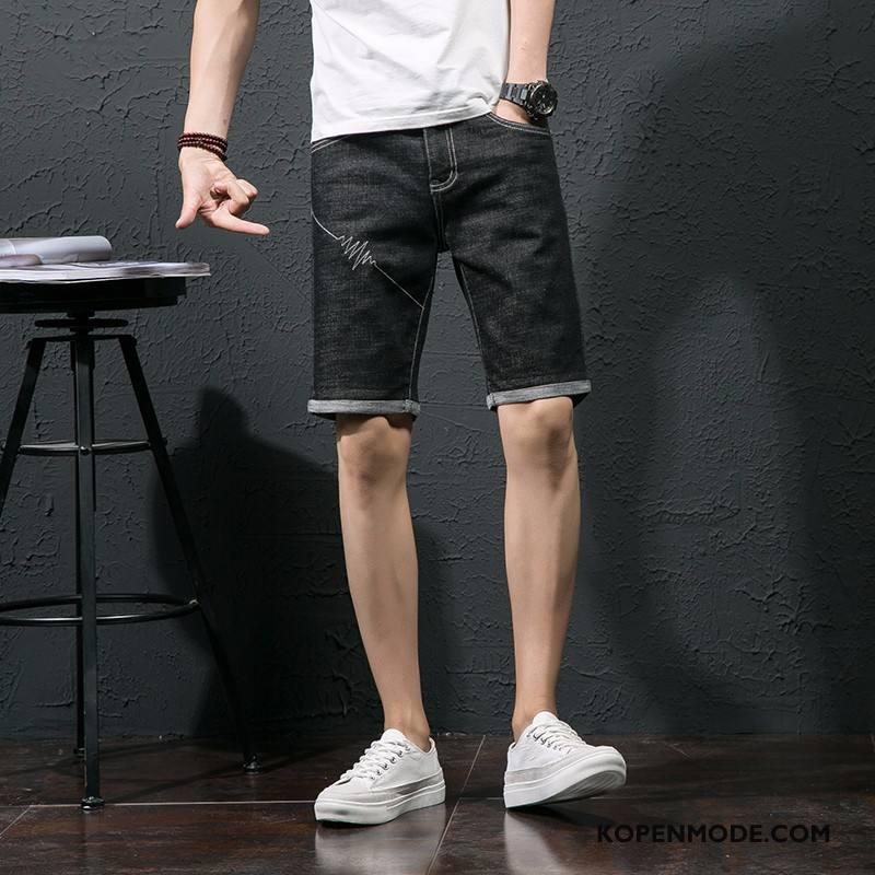 Heren Korte Broek Kopen.Jeans Heren Korte Broek Dunne Zomer Denim Trend Mannen Zwart Kopen