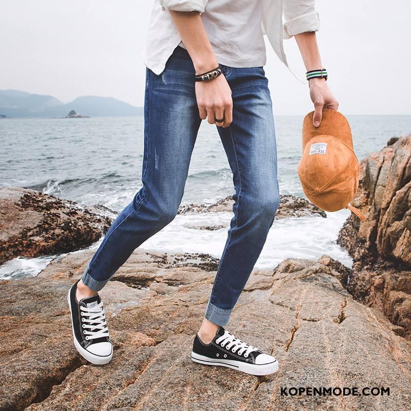 Jeans Heren Mannen Student Nieuw Mini Trend Skinny Donkerblauw