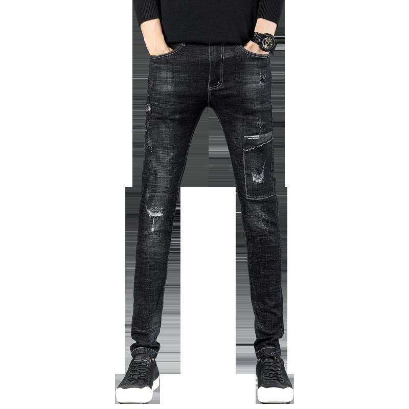 Jeans Heren Mini Trend Herfst Gaten Mannen Spijkerbroek Jeans Zwart