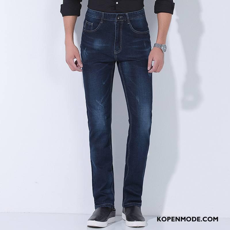 Jeans Heren Mode Broek Dikke 2018 Winter Mannen Donkerblauw