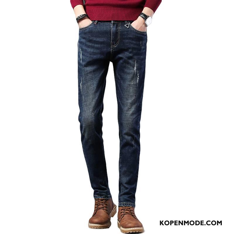 Jeans Heren Nieuw Elastiek Broek Trend Denim Comfortabele Blauw