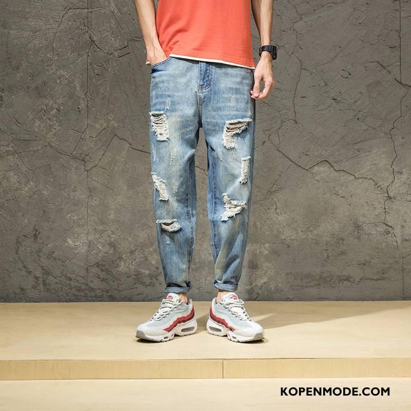 Jeans Heren Persoonlijk Gaten Blauw