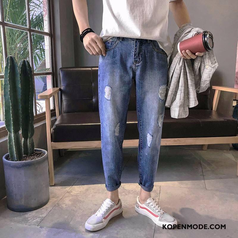 Jeans Heren Potlood Broek Spijkerbroek Jeans Zomer 2018 Trend Losse Lichtblauw