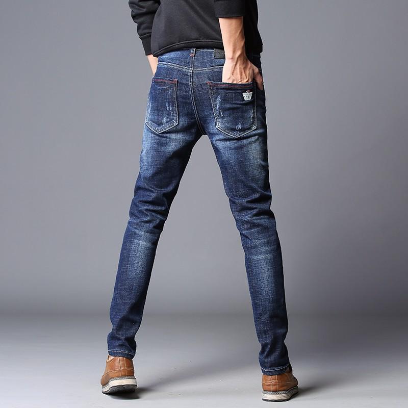 Jeans Heren Rechtdoor Gaten Mannen 2018 Trend Broek Blauw