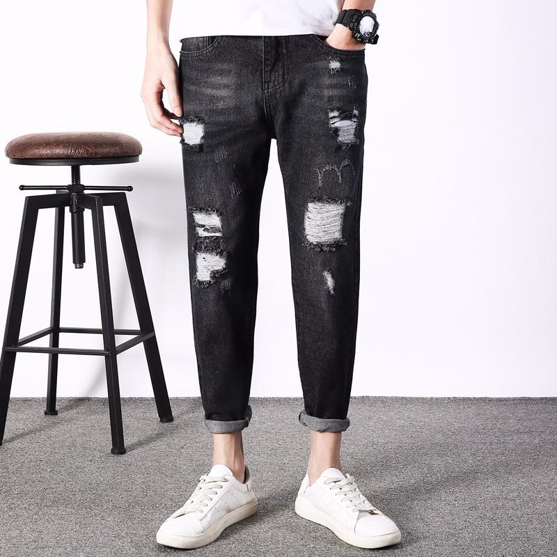 Jeans Heren Spijkerbroek Jeans Mannen Harlan Gaten Potlood Broek Zwart