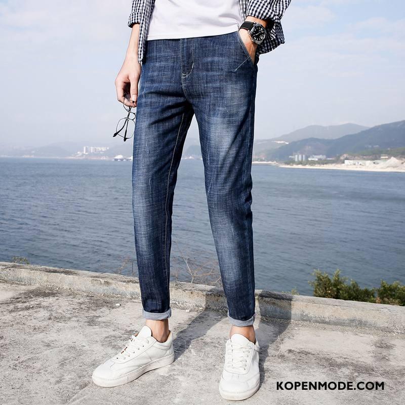 Jeans Heren Trend Casual Jeugd Mannen Broek Spijkerbroek Jeans Blauw
