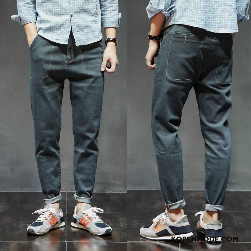 Jeans Heren Vintage Losse Potlood Broek Hoge Elastiek Harlan Blauw