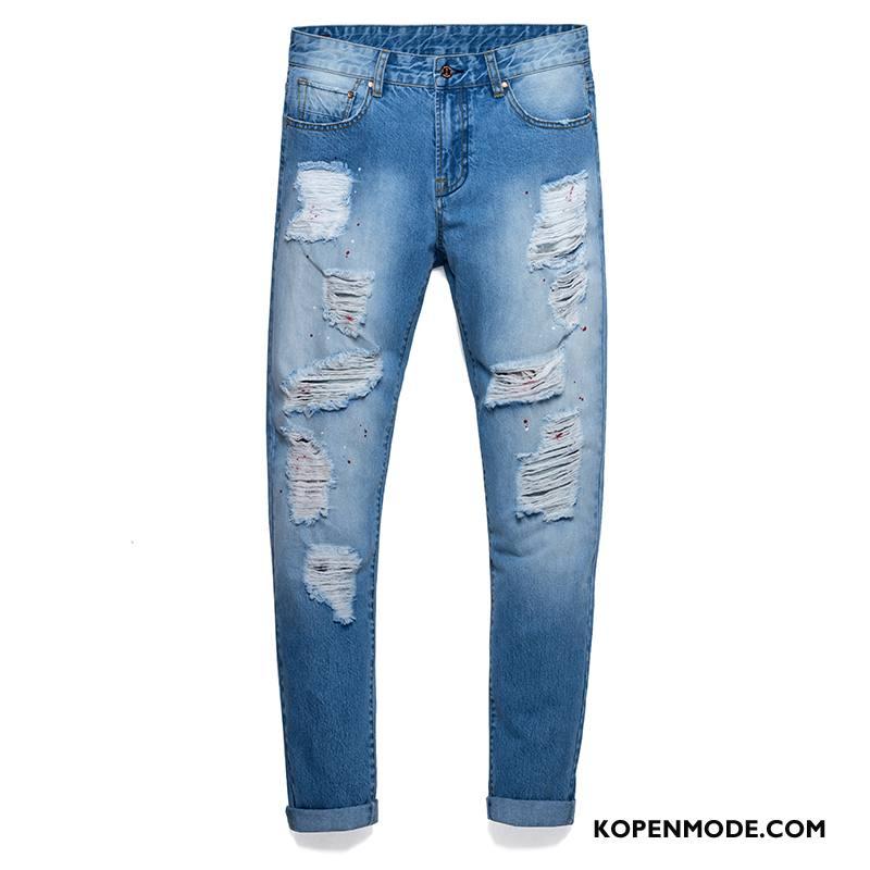Jeans Heren Voorjaar Broek Nieuw Gaten 2018 Spijkerbroek Jeans Lichtblauw Hemelsblauw Blauw