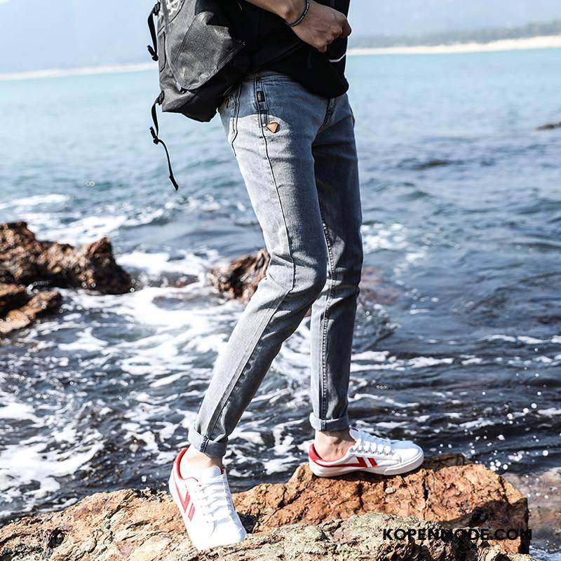 Jeans Heren Voorjaar Nieuw Trend Slim Fit Potlood Broek Mannen Blauw