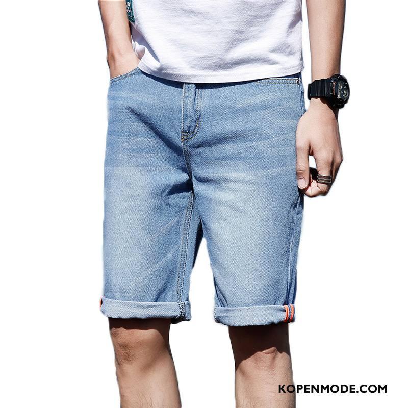 Korte Jeans Broek Heren.Jeans Heren Zomer Nieuw Denim Korte Broek Blauw Sale