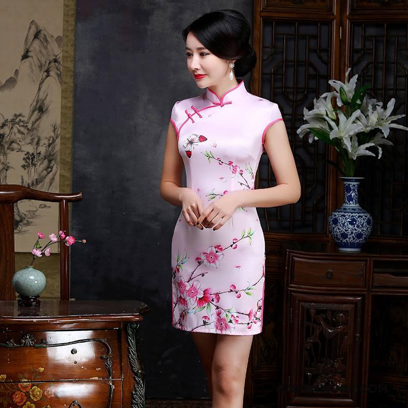 Jurk Dames Cheongsam Zomer Elegante 2018 Gazen Mode Roze