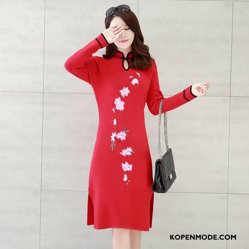 Jurk Dames Elegante 2018 Cheongsam Comfortabele Populair Mode Rood