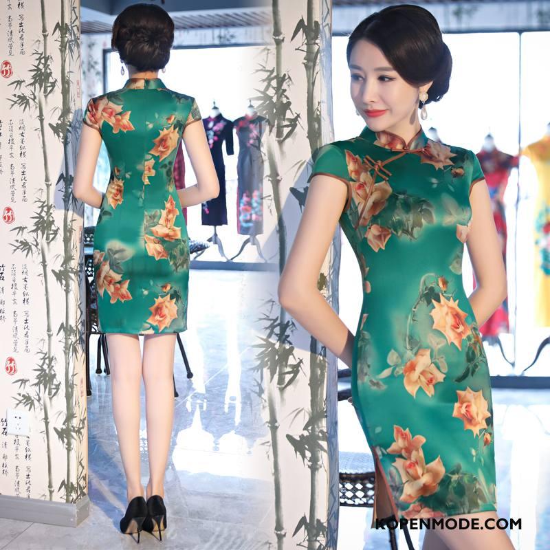 Jurk Dames Gazen Cheongsam Mode Dunne Elegante Slim Fit Groen