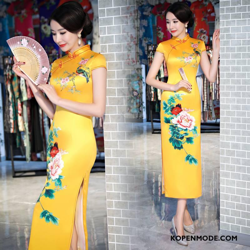 Jurk Dames Losse Cheongsam Mode Straat 2018 Zomer Geel