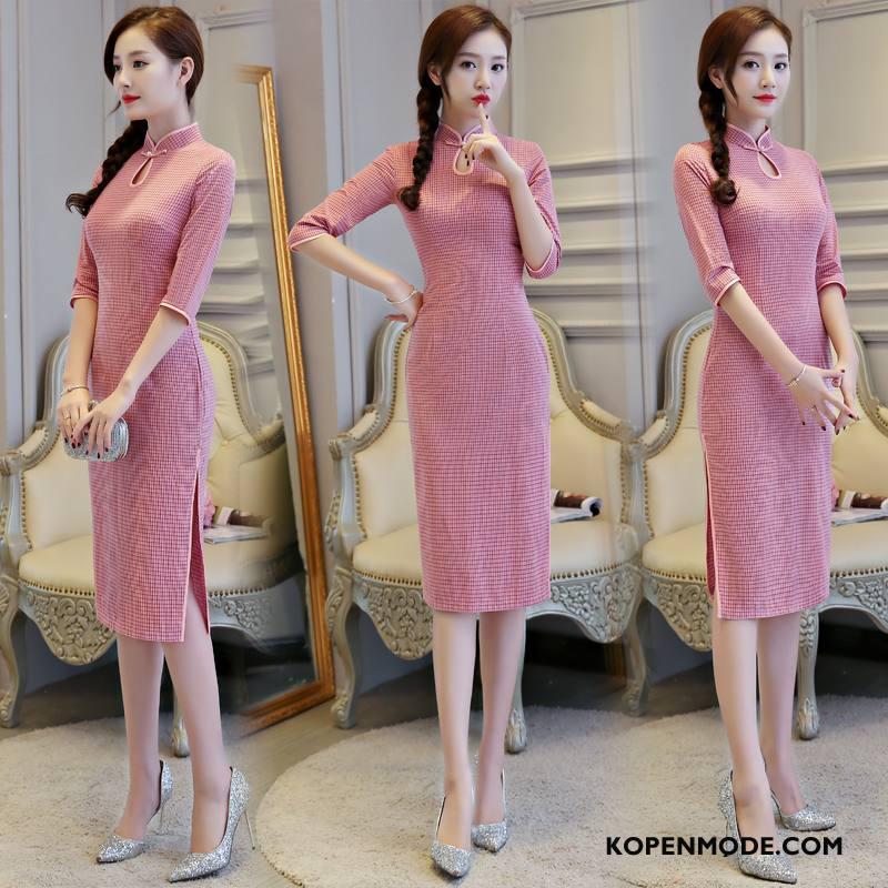 Jurk Dames Losse Lange Mouwen Cheongsam Elegante Eenvoudige Comfortabele Effen Kleur Rood