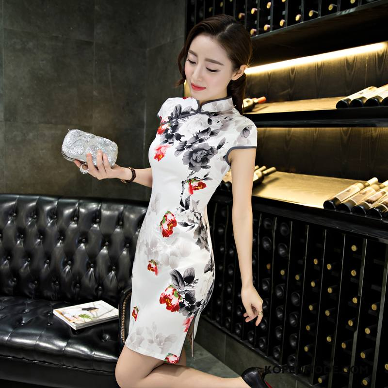 Jurk Dames Mode 2018 Kort Bloemen Vintage Elke Dag Wit