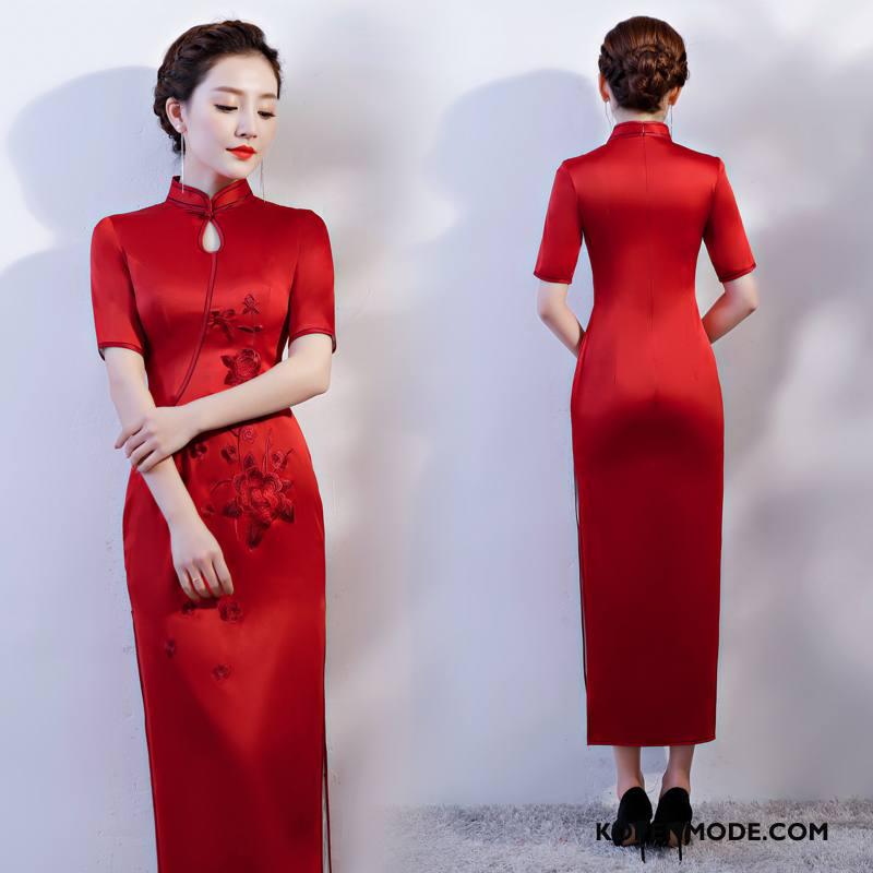 Jurk Dames Mode Casual 2018 Gazen Slim Fit Lang Effen Kleur Rood
