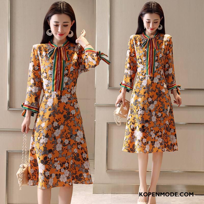 Jurken Dames Bloemen Slim Fit Dunne Trend Voorjaar Mode Effen Kleur Geel