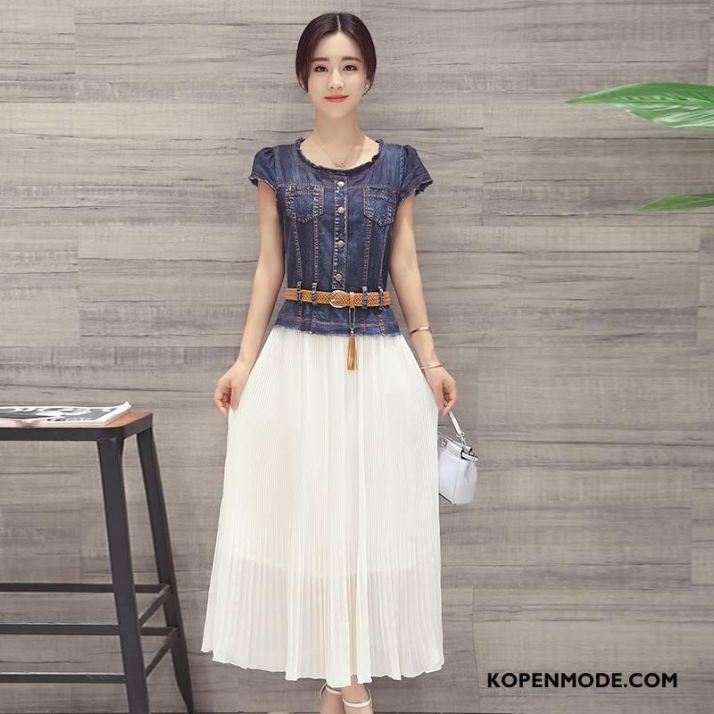 Jurken Dames Elegante Mode Lange Voorjaar Korte Mouw Groot Marineblauw