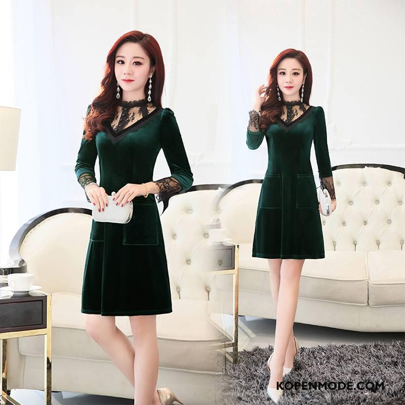 34d5eb1d93b49b Jurken Dames Elegante Mode Slim Fit Lange Mouwen Trend Effen Kleur Groen