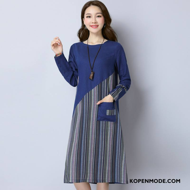 Jurken Dames Groot Losse Pullover 2018 Verbinding Voorjaar Marineblauw