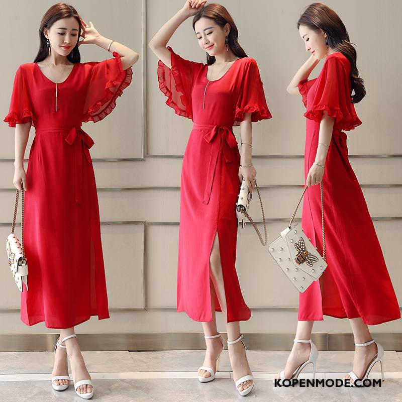 Jurken Dames Grote Maten 2018 Slim Fit Mode Eenvoudige Elegante Rood